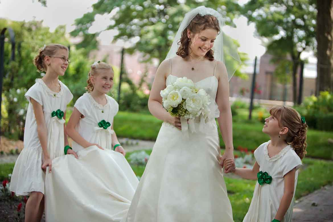 A Bride and Her Flowergirls