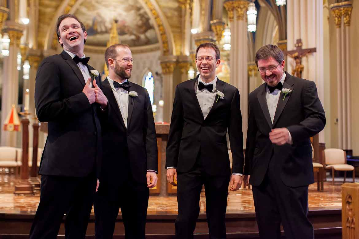 A Groom Laughs With His Groomsmen